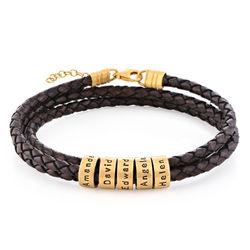 Braunes Lederarmband mit Gravur auf kleinen personalisierten Beads product photo