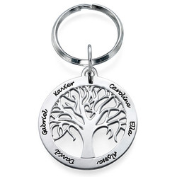 Familienbaum-Schlüsselanhänger aus Silber mit Gravur product photo