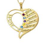 Gravierbare 10K Gold Geburtsstein Halskette für Mütter