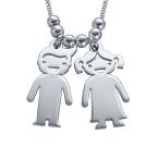 925er Sterling Silber Kette mit Kinder Anhängern
