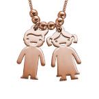 Halskette mit Kinder Charms aus Rosé vergoldetem Silber