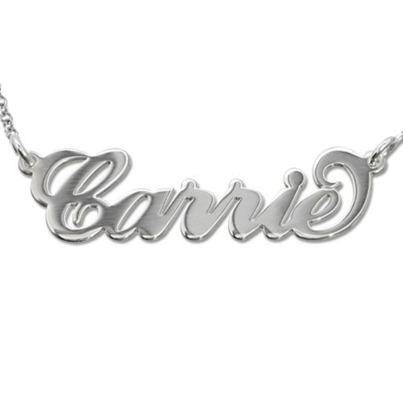 "Collar con nombre estilo ""Carrie"", plata de ley foto de producto"