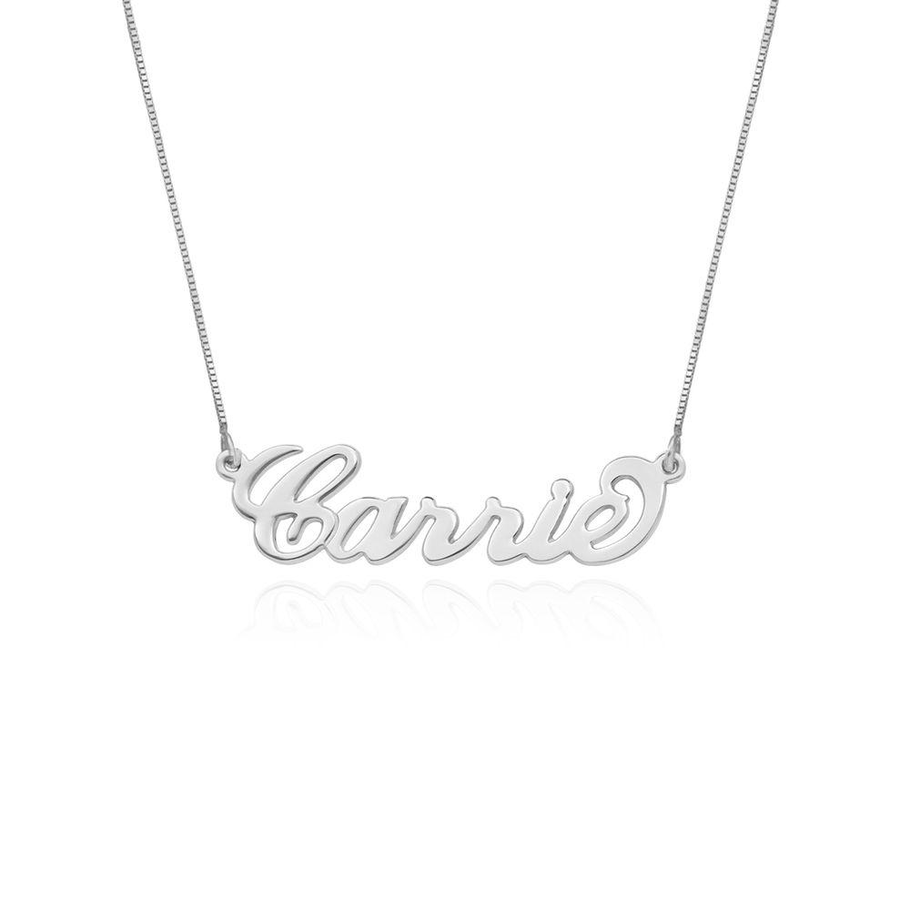 """Collar con nombre estilo """"Carrie"""" personalizado, oro blanco 14k foto de producto"""