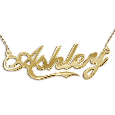 Collar con nombre personalizado inspirado en el estilo Coca Colade oro 14k