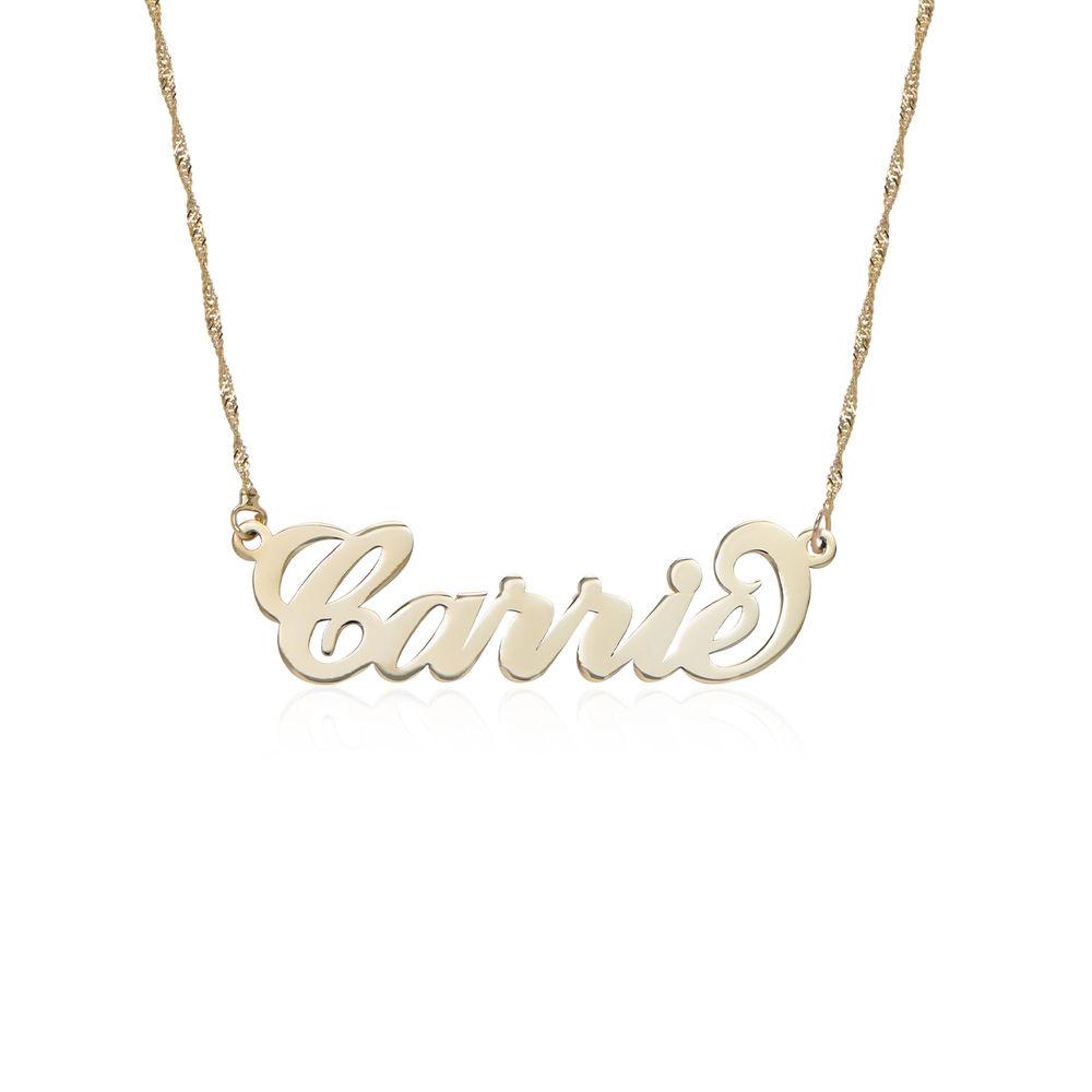 """Collar pequeño con nombre estilo """"Carrie"""" de oro 14k foto de producto"""