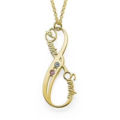 Collar Infinito con Nombre Vertical con Piedra de la fortuna Chapado en Oro foto de producto