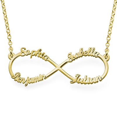 Collar Infinito de 4 Nombres Chapado en Oro foto de producto