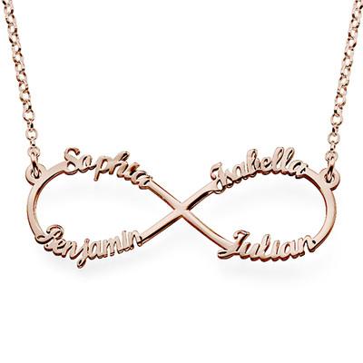Collar Infinito de 4 nombres en Chapa de Oro Rosa foto de producto