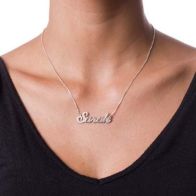 Collar con Nombre de Plata con La Primera Letra Brillante - 1