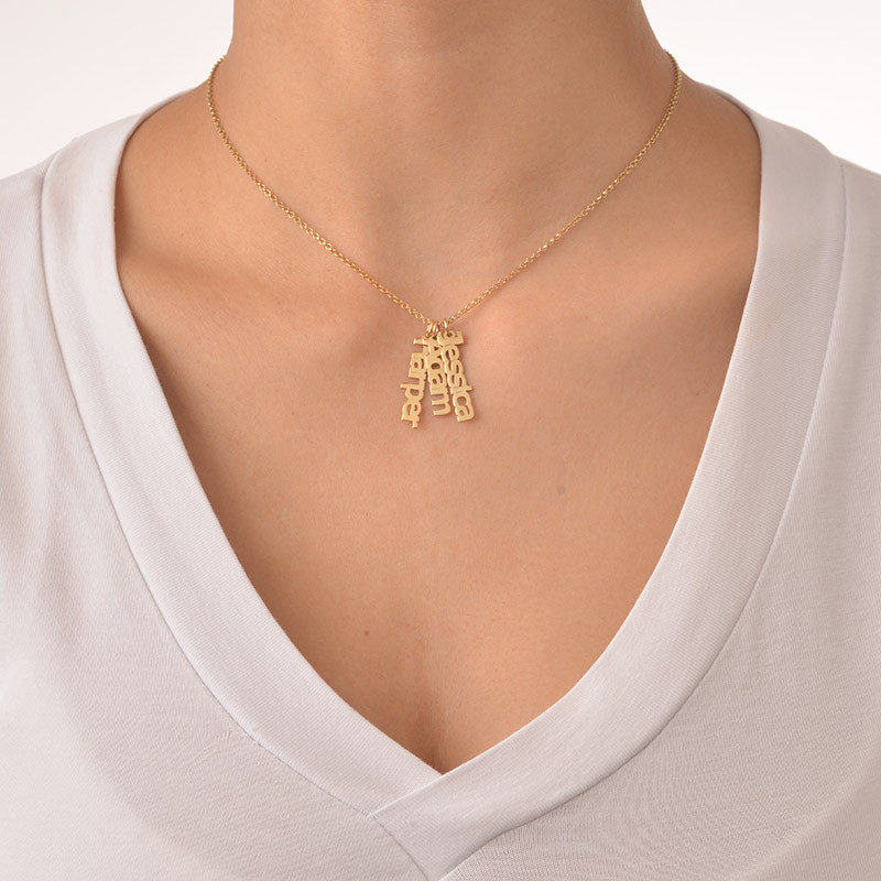 Collar Nombre Vertical Chapado en Oro 18k - 2