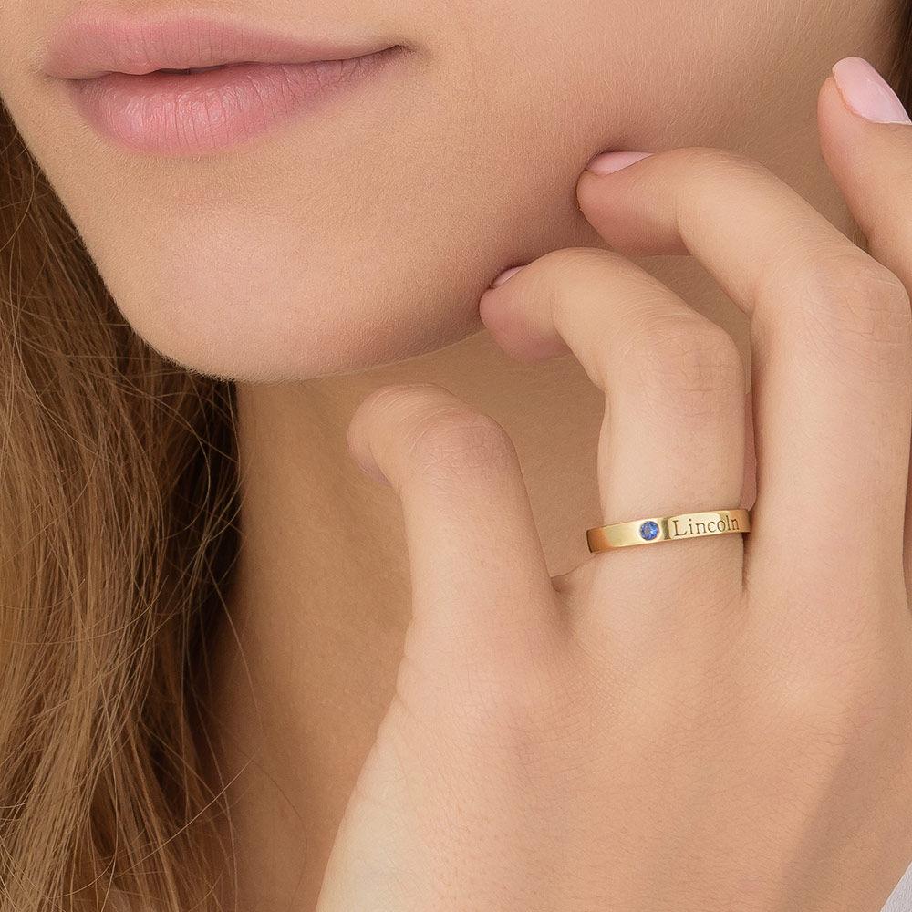 Anillo Apilable con Nombre y Piedra de Nacimiento - Oro amarillo de 14k - 7