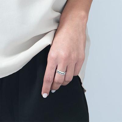 Anillo de compromiso - Anillo Grabado redondo de plata - 1