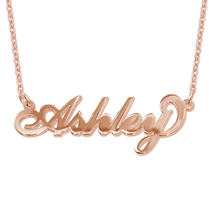 """Collar con nombre Estilo """"Carrie"""", plata de ley chapada en oro Rosa foto de producto"""