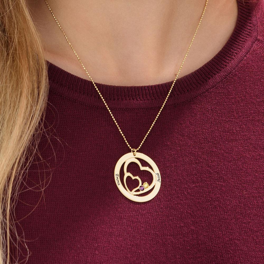 Collar Corazones Entrelazados con piedras en Oro de 10K - 3