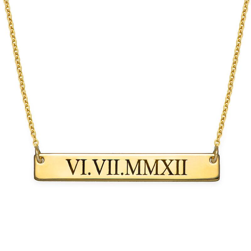 Collar de Barra en Números Romanos en Chapa de Oro
