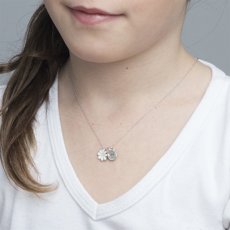 Collar de Flor de Esmalte para Niños con encanto de Disco - 2