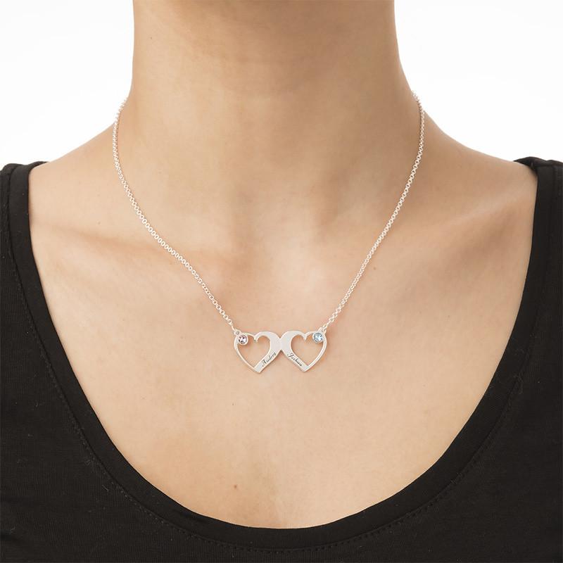 Clásico Collar de Corazones Lado a Lado con Piedras de Nacimiento - 2