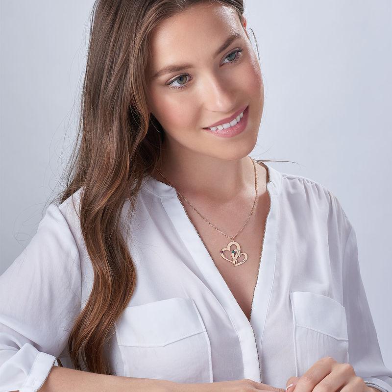 Collar Dos Corazones Grabados chapado en Oro Rosa 18k - 2