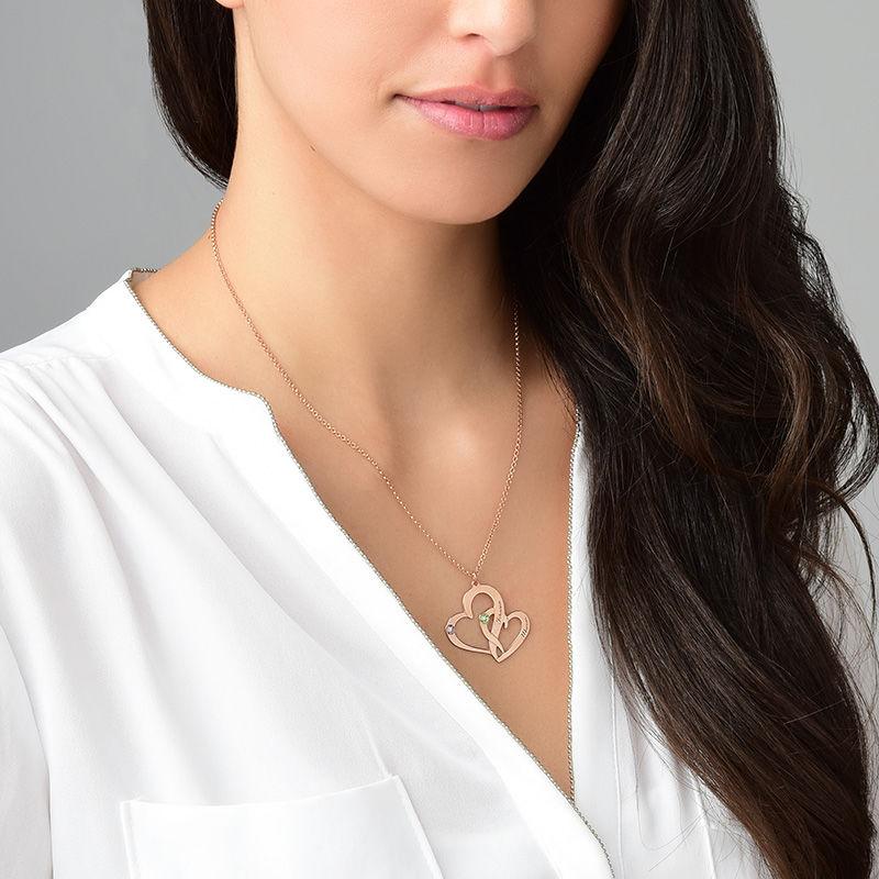 Collar Dos Corazones Grabados chapado en Oro Rosa 18k - 4