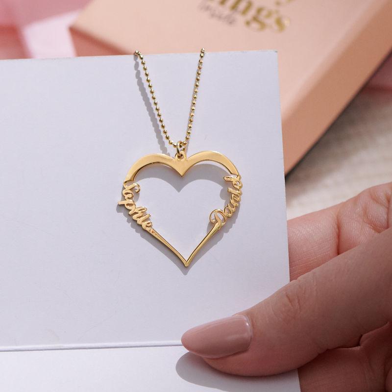 Collar de Corazón con Inscripción Personalizada Chapado en Oro de 18k - 1