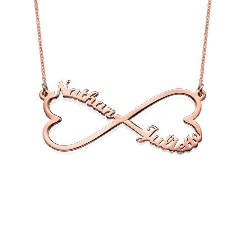 Collar Infinito de Corazón con Nombres - Chapa de Oro Rosa foto de producto