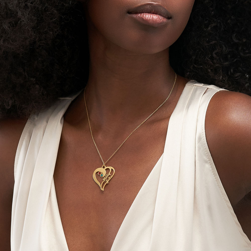 Collar Dos Corazones por Siempre Uno en Chapa de Oro - 2