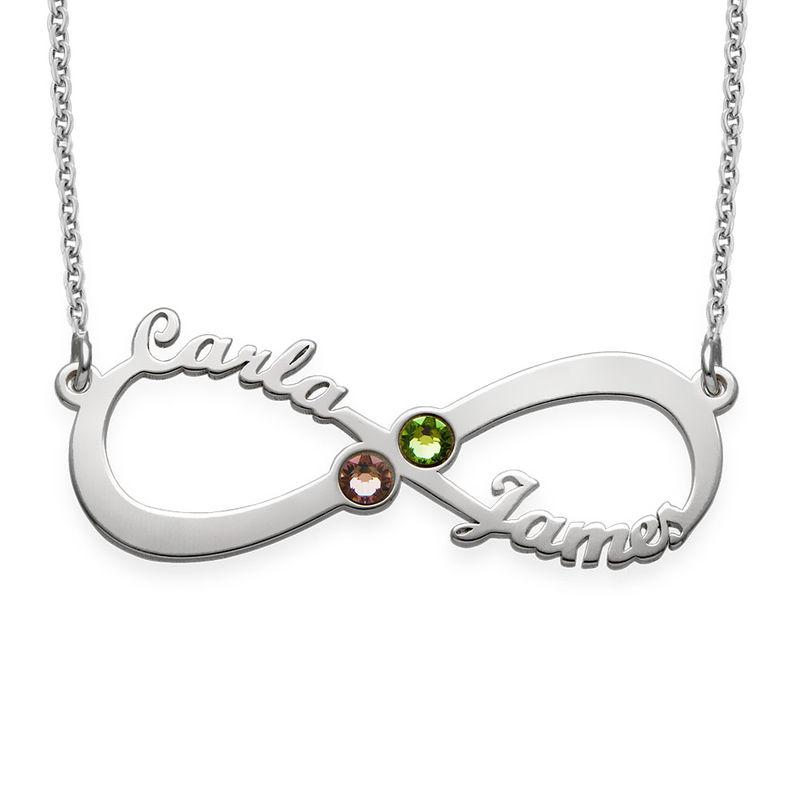 Collar Infinito con Nombre y Piedras de Nacimiento foto de producto