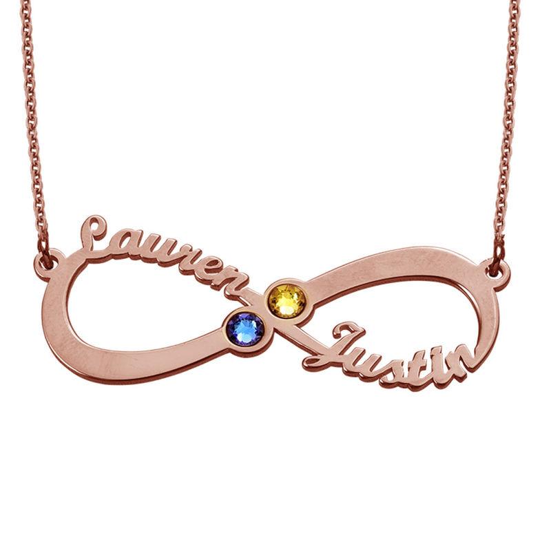 Collar Infinito con Nombres y Piedras de Nacimiento – Chapa de Oro Rosa foto de producto