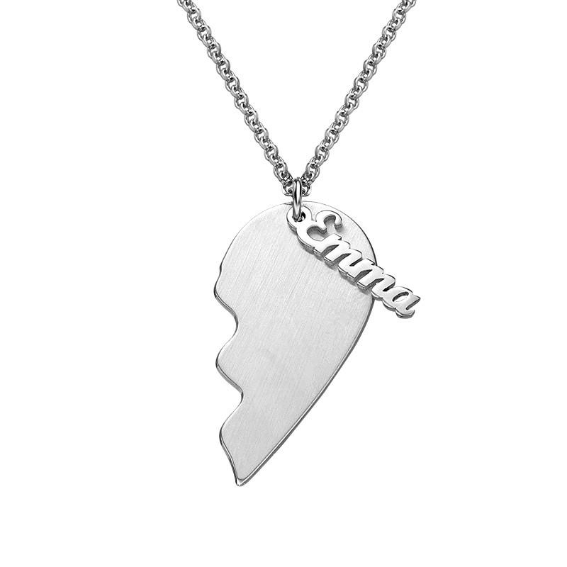 Collar Corazón Grabado de Parejas en Plata Mate - 1