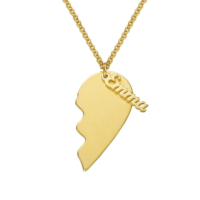 Collar Corazón Grabado de Parejas  en Chapa de Oro Mate - 1