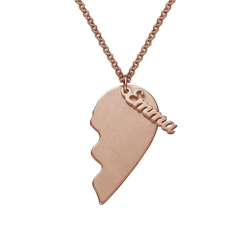 Collar Corazón Grabado de Parejas  en Chapa de Oro Rosa Mate - 1