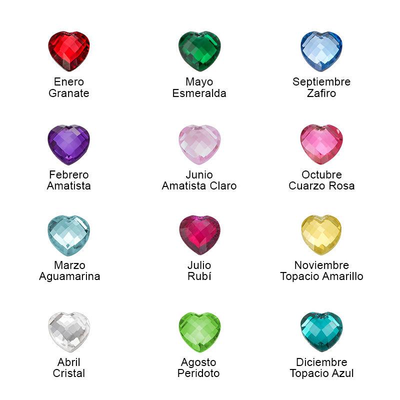 Collar Corazón Personalizado con Piedras de Nacimiento - 1