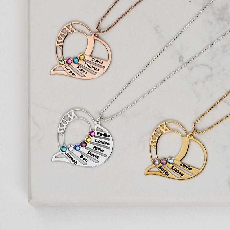 Collar Grabado con Piedras de Nacimiento para Mamá - Chapado en oro rosa - 3