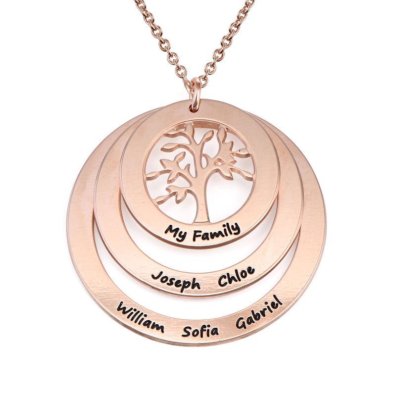 Collar del Círculo de Familia con Árbol de la Familia Chapado en Oro Rosa 18K foto de producto