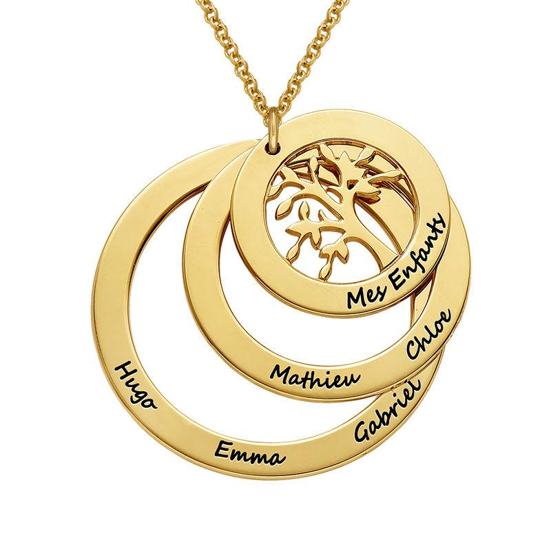 Collar del Círculo de Familia con Árbol de la Familia en Oro Vermeil - 1