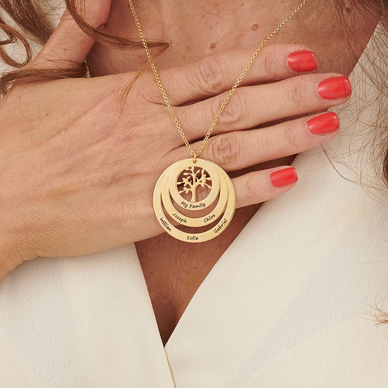 Collar del Círculo de Familia con Árbol de la Familia en Oro Vermeil - 3
