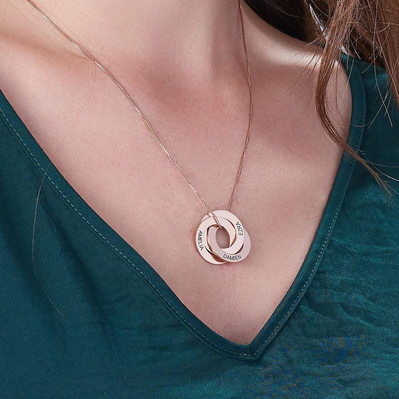 Collar Anillo Ruso Grabado Chapado en Oro Rosa - 4