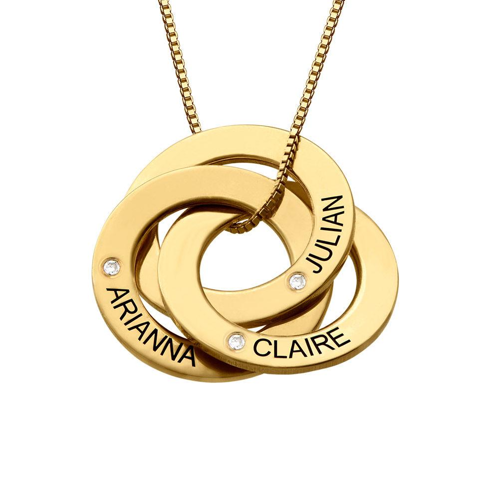 Collar Anillo Ruso Grabado con Diamantes Chapado en Oro 18K