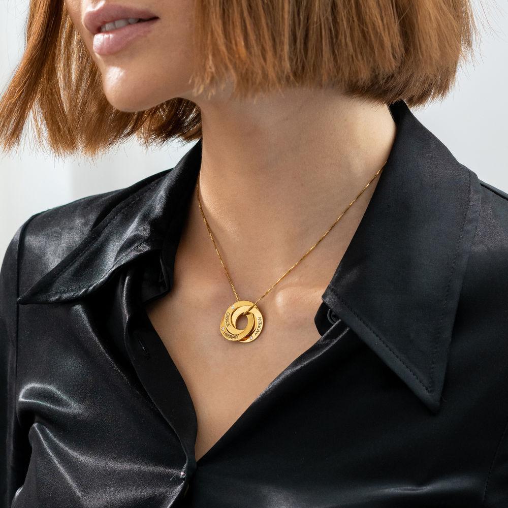 Collar Anillo Ruso Grabado con Diamantes Chapado en Oro 18K - 2