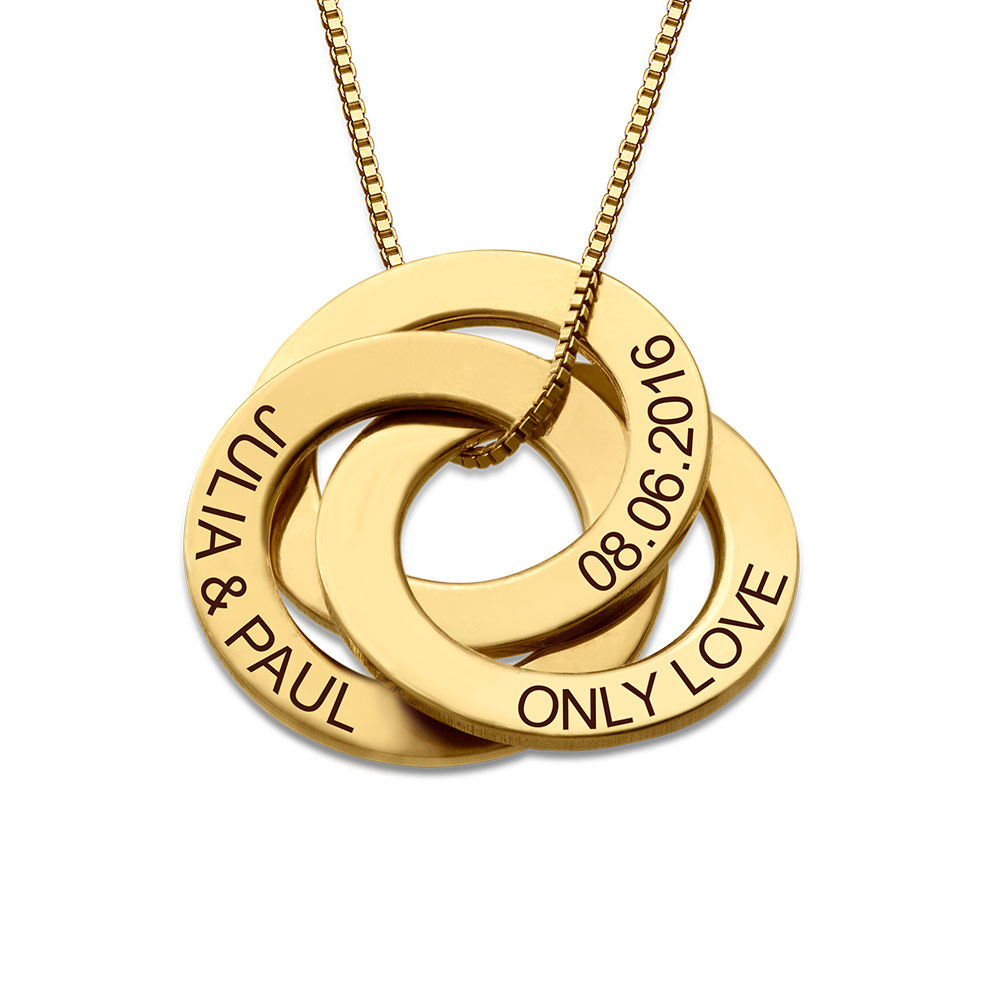 Collar Anillo Ruso Grabado en Oro Vermeil - 1