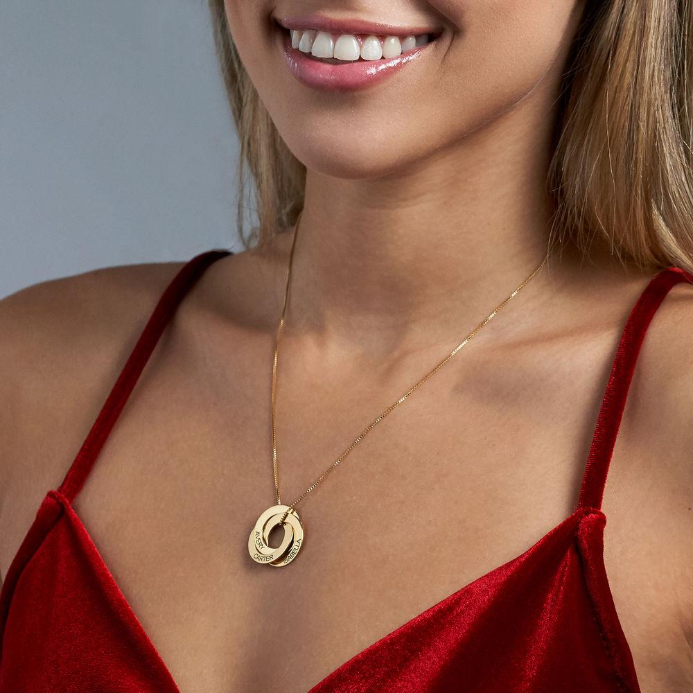 Collar Anillo Ruso Grabado en Oro Vermeil - 3