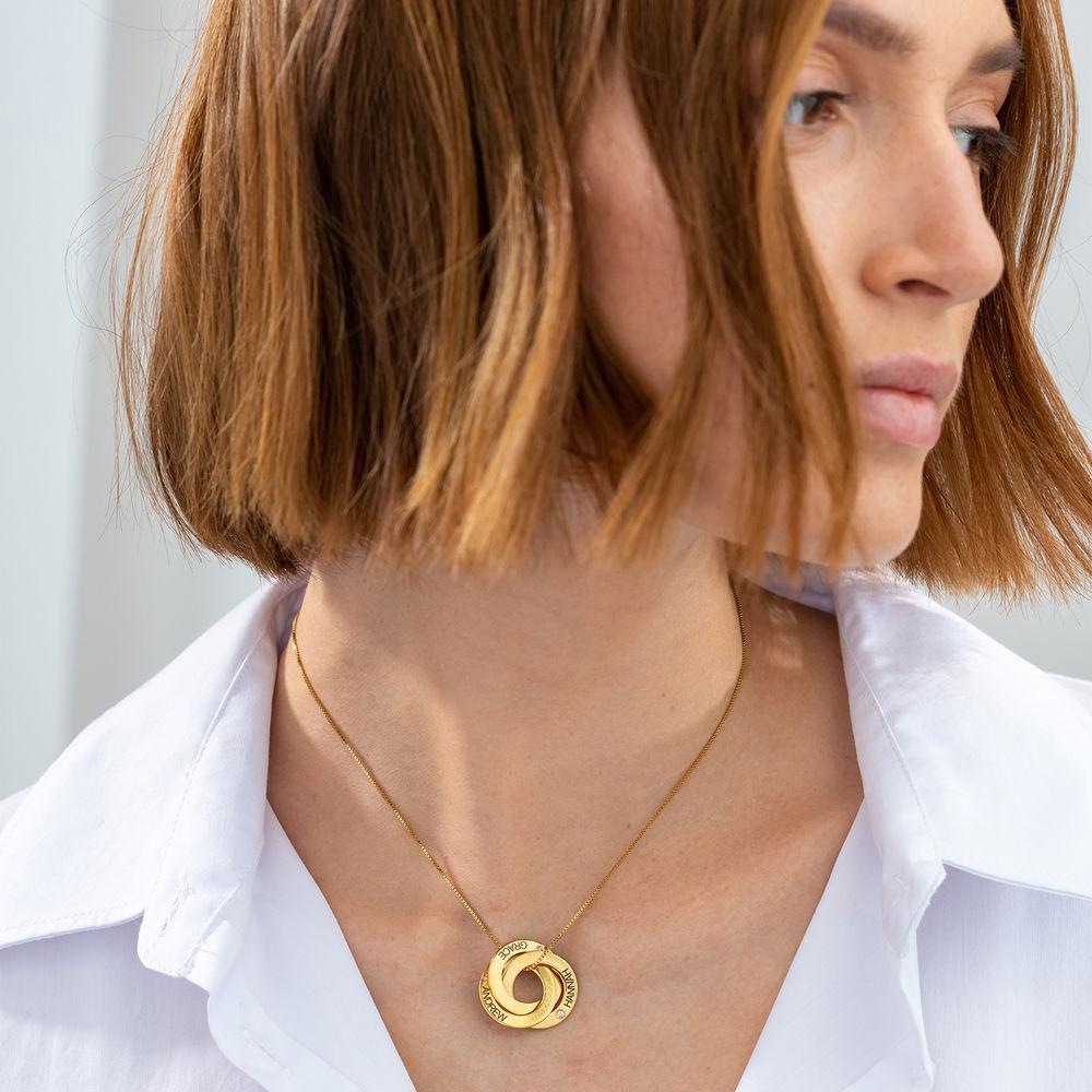Collar Anillo Ruso Grabado con Diamantes en Oro Vermeil - 1