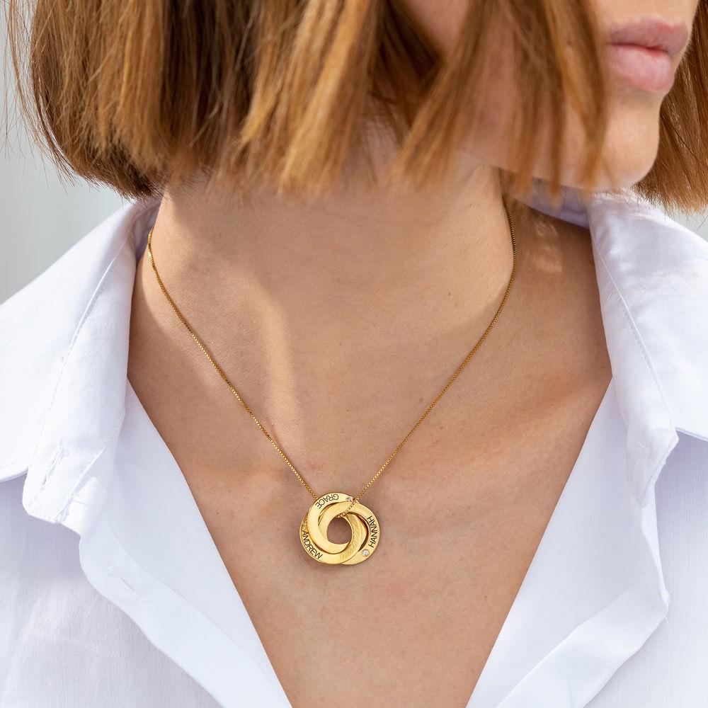 Collar Anillo Ruso Grabado con Diamantes en Oro Vermeil - 2