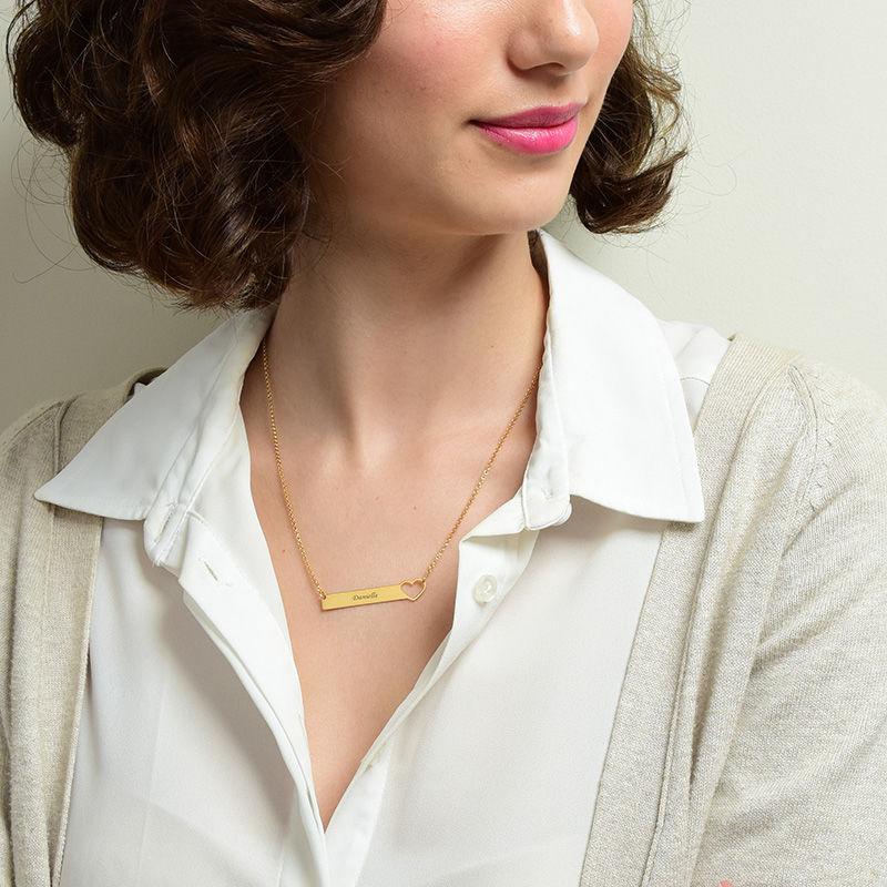 Collar de barra con corazón grabado – chapa de oro de 18K - 2