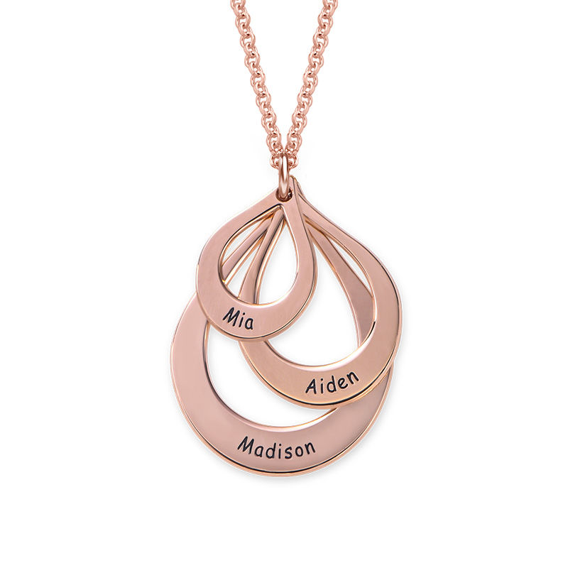 Collar de Gota de la Familia Grabada en Chapa de Oro Rosa - 1