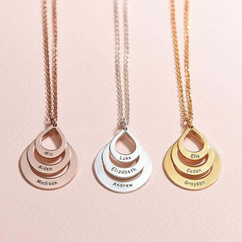 Collar de Gota de la Familia Grabada en Chapa de Oro Rosa - 3