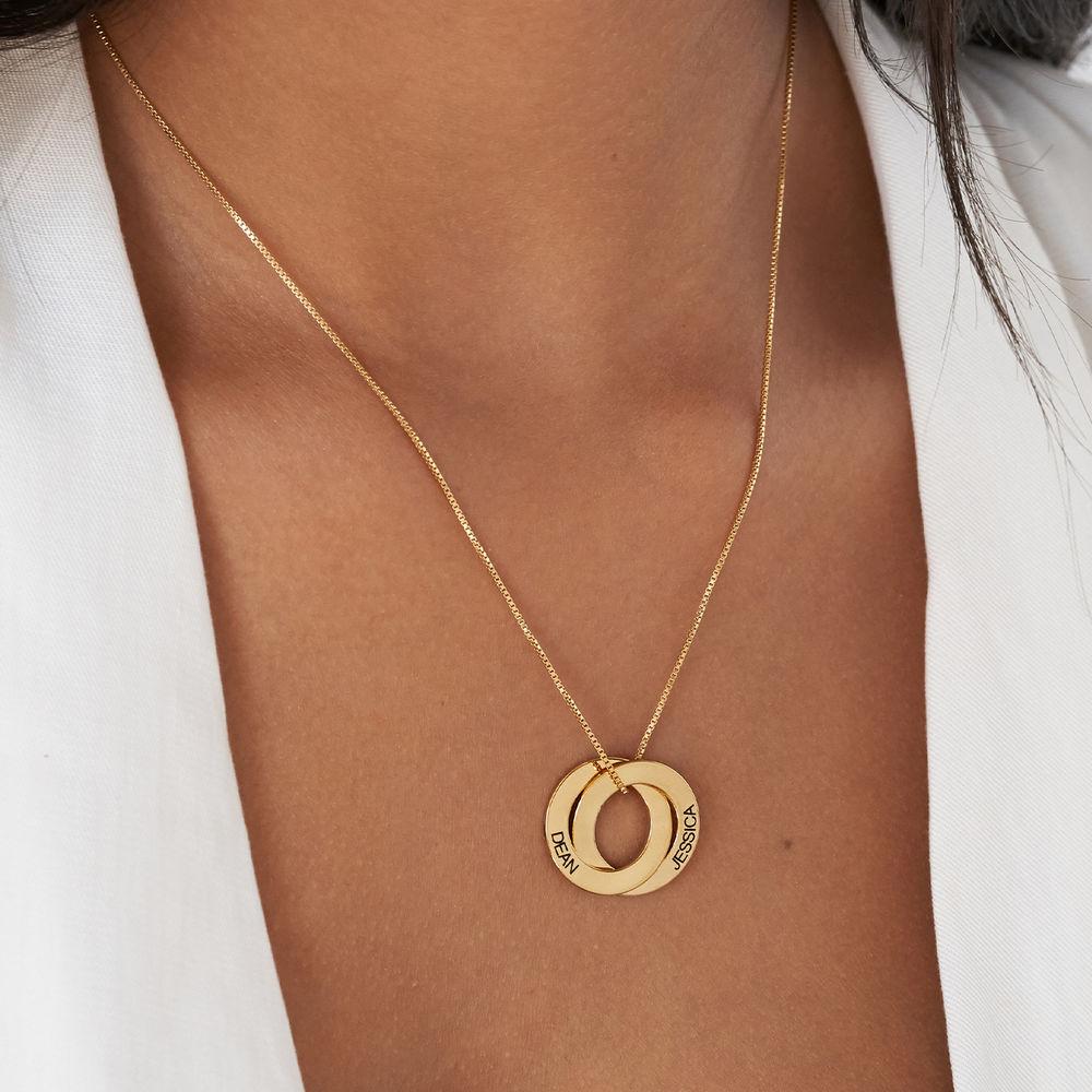 Collar de Anillo Ruso con Chapa de Oro con 2 Anillos - 4