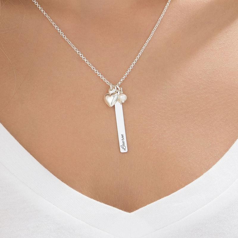 Collar Barra con encanto de corazón y perla en plata - 3