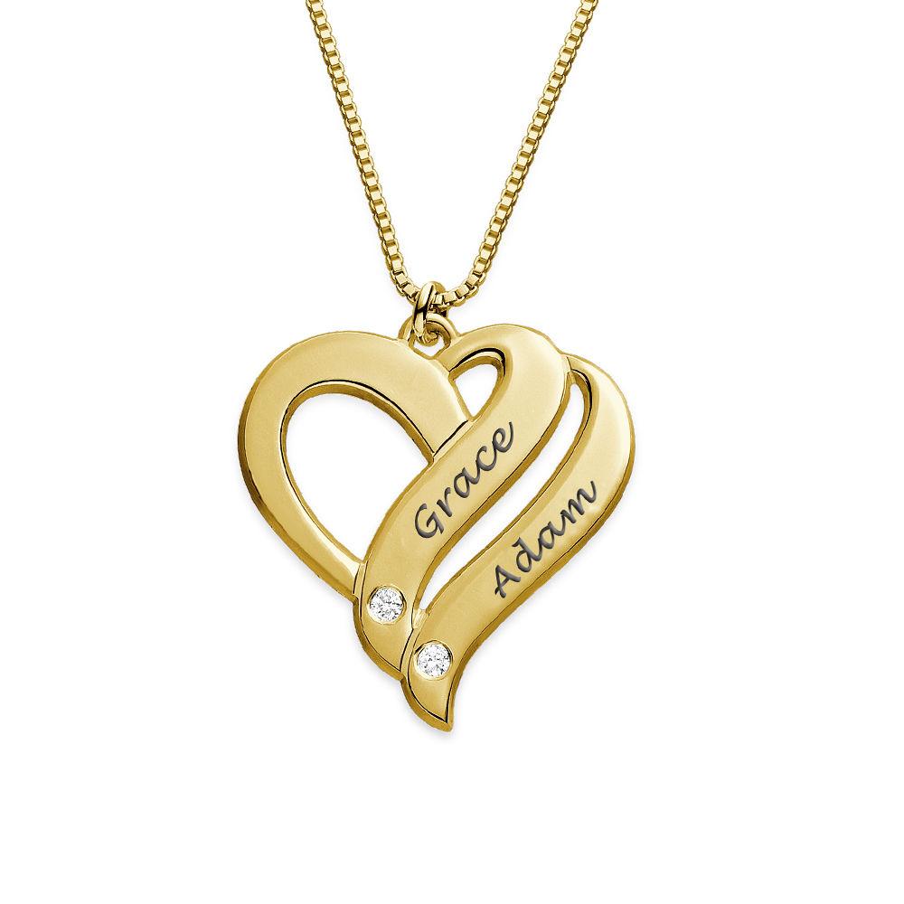 """Collar """"Dos Corazones por Siempre Uno"""" con Diamantes Chapado en Oro product photo"""