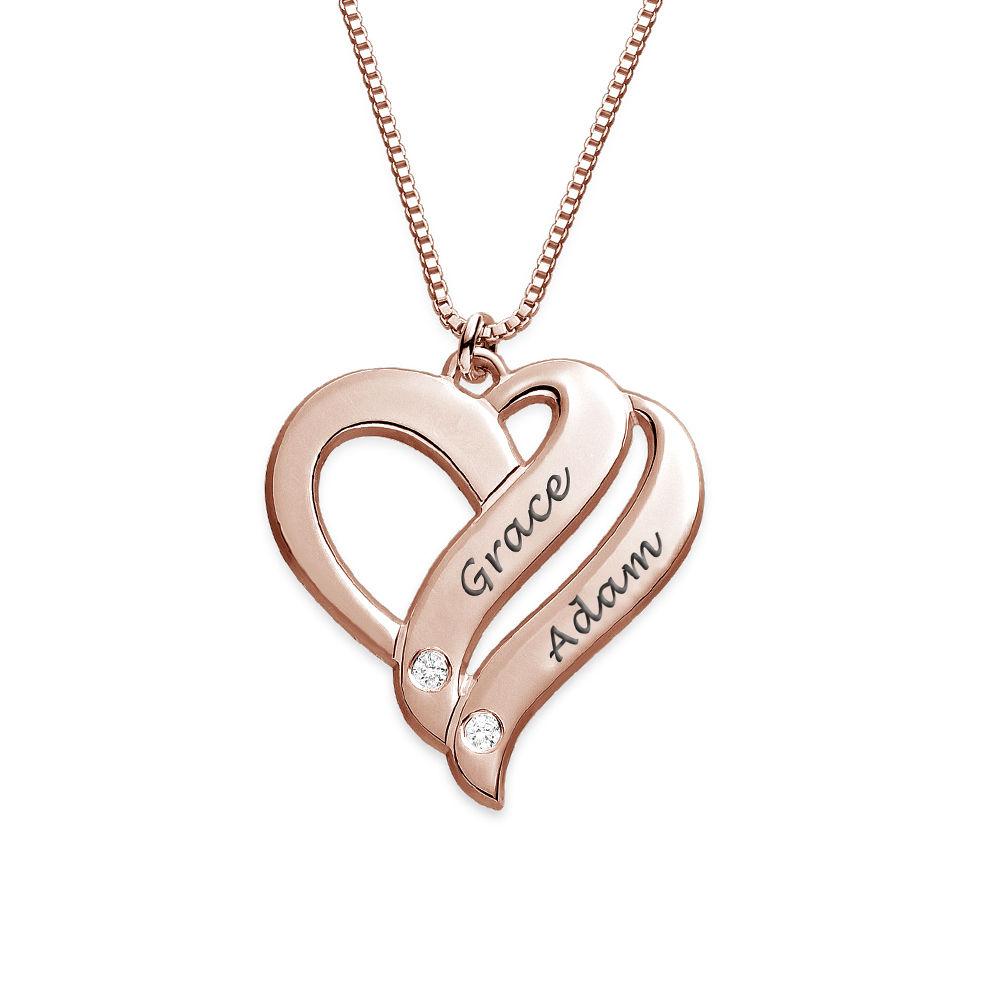"""Collar """"Dos Corazones por Siempre Uno"""" con Diamantes Chapado en Oro Rosa foto de producto"""